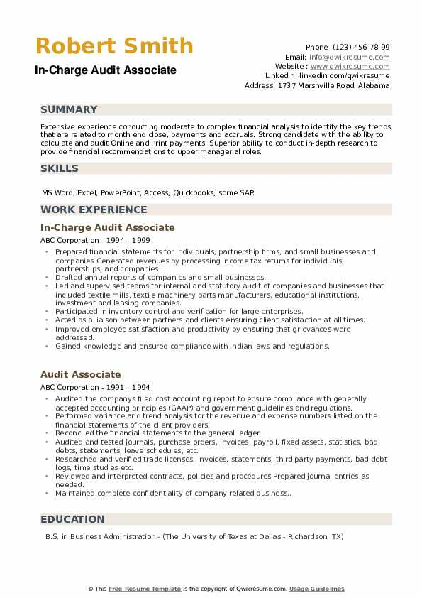 In-Charge Audit Associate Resume Template