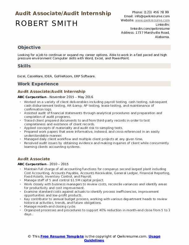 Audit Associate/Audit Internship Resume Sample