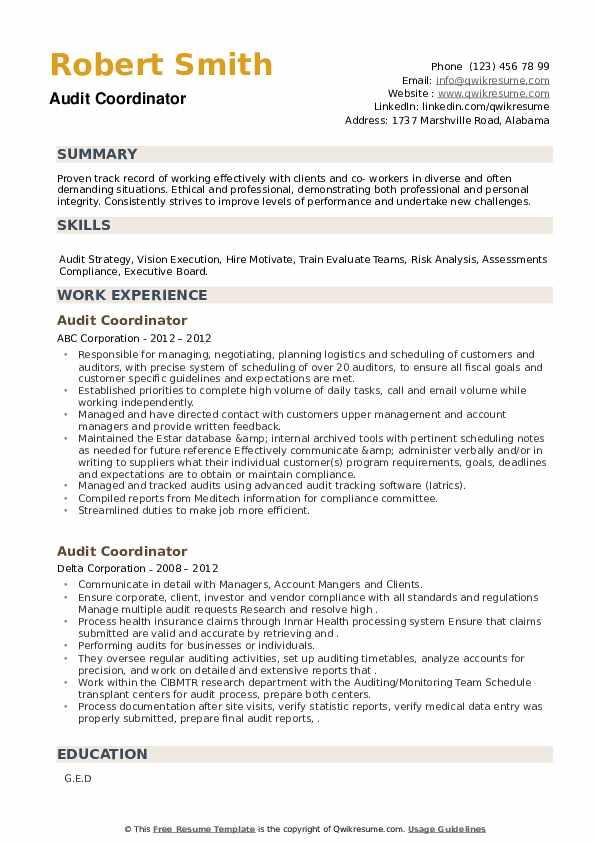 Audit Coordinator Resume example