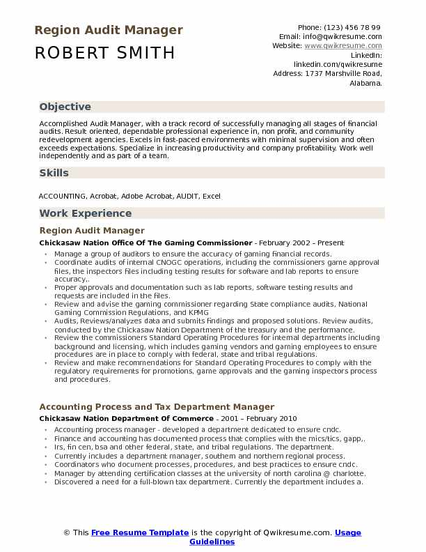 audit manager resume samples