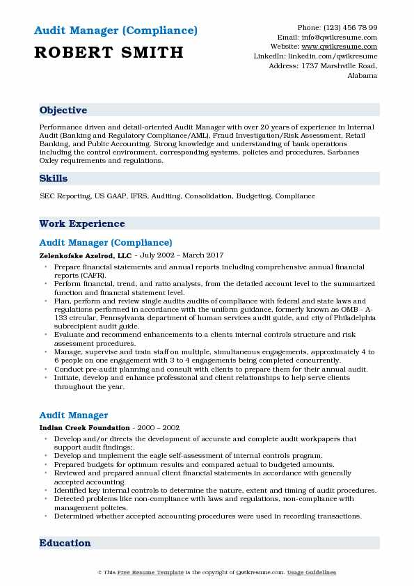 Audit Manager (Compliance) Resume Template