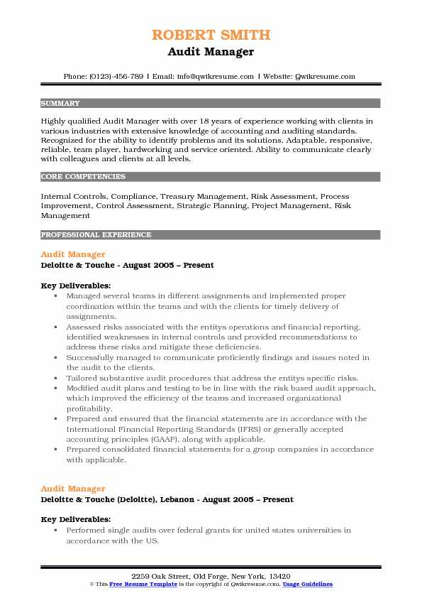 Audit Manager Resume Samples | QwikResume