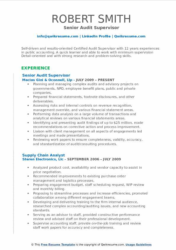 audit supervisor resume samples