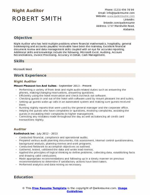 Auditor Resume Samples | QwikResume