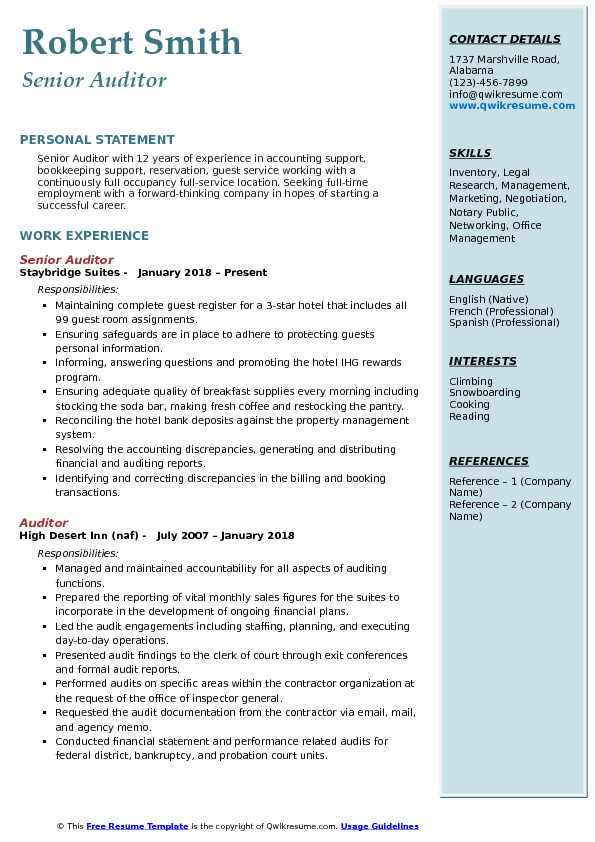 Senior Auditor Resume Format