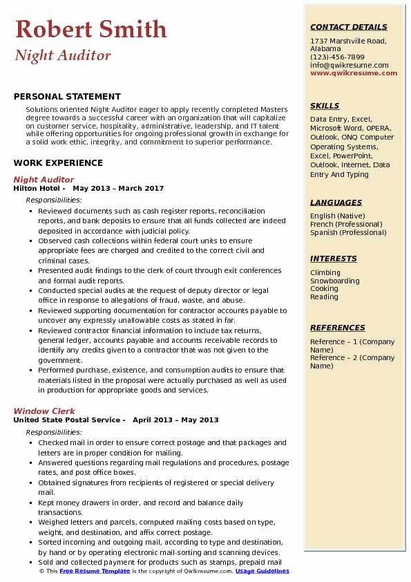 Night Auditor Resume Sample