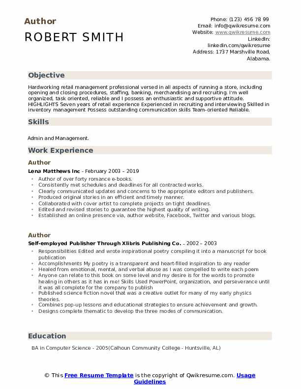 Author Resume Template