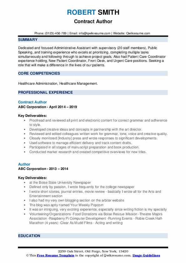 Contract Author Resume Template