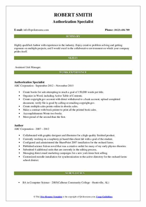 author resume samples