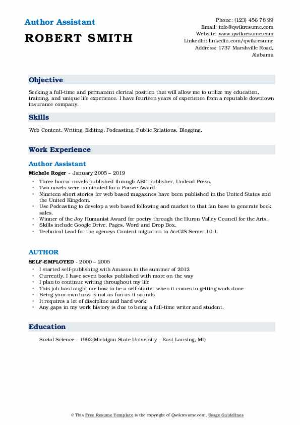 Author Assistant Resume Example