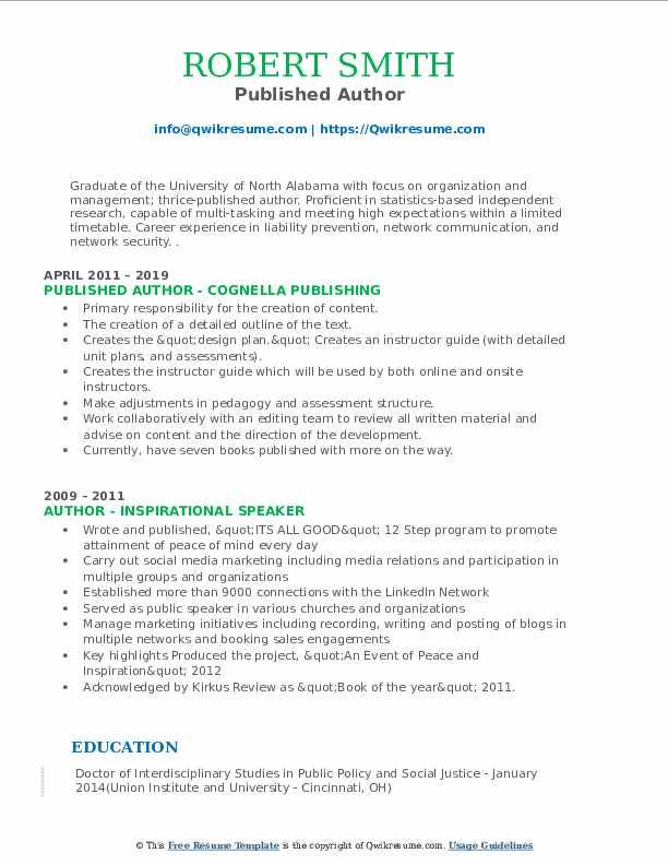 Published Author Resume Format