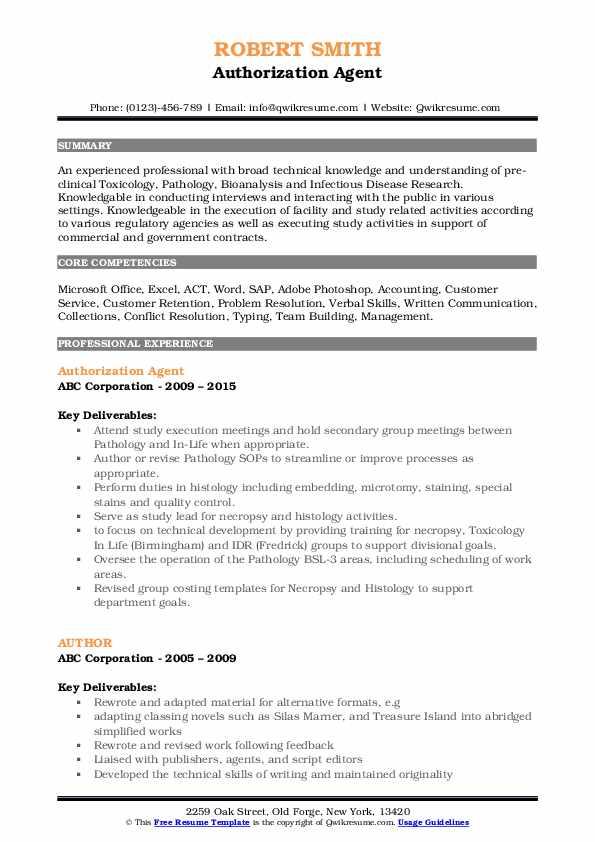 Authorization Agent Resume Model