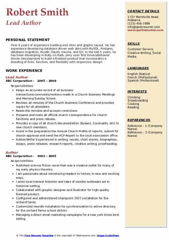 Lead Author Resume Format