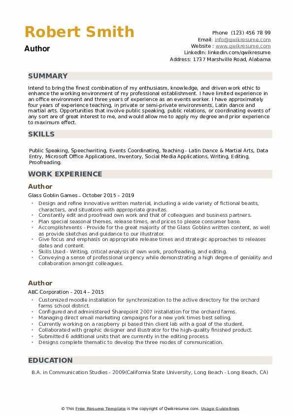 Author Resume example