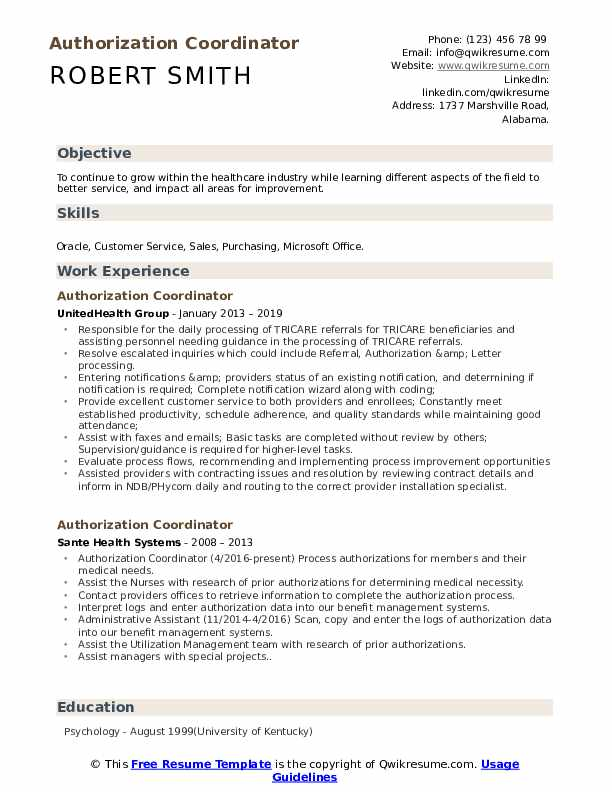 Authorization Coordinator Resume Sample