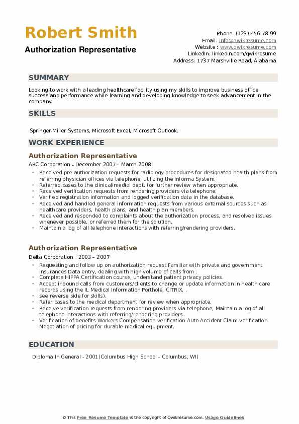 Authorization Representative Resume example