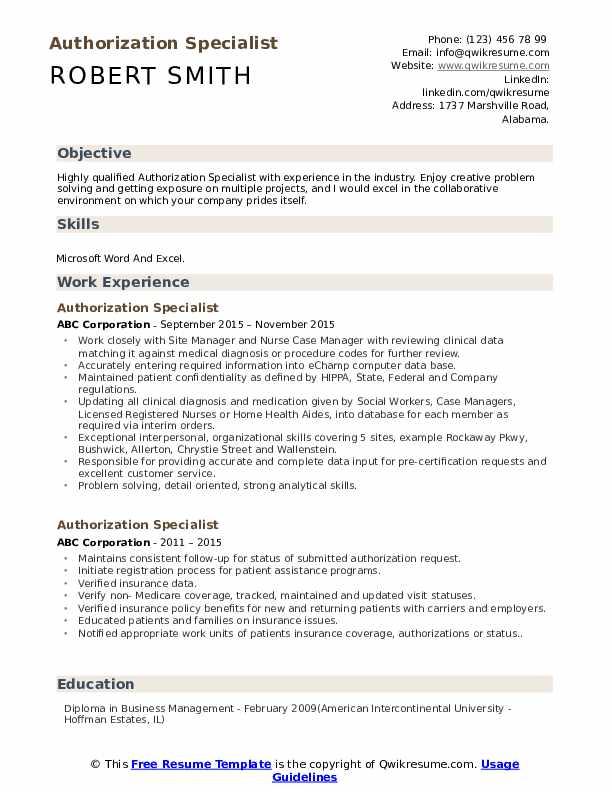 Authorization Specialist Resume Sample