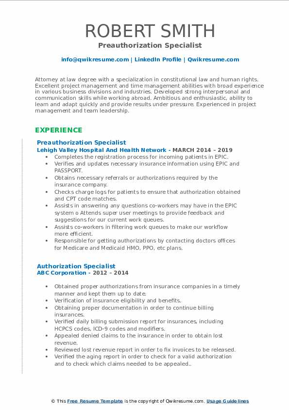 Preauthorization Specialist Resume Format