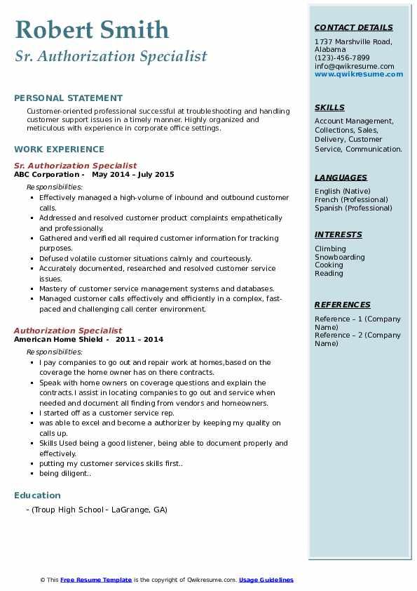 authorization specialist resume samples