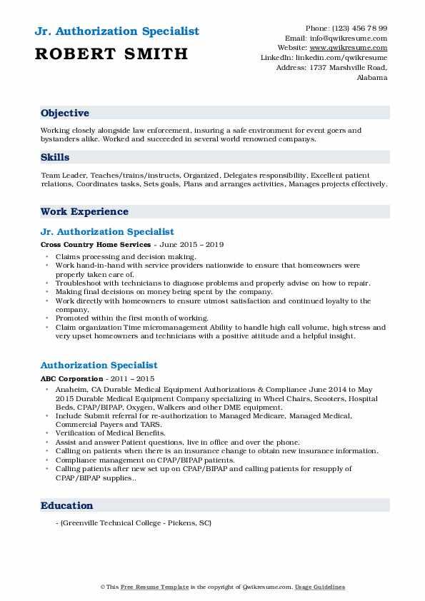 Jr. Authorization Specialist Resume Model