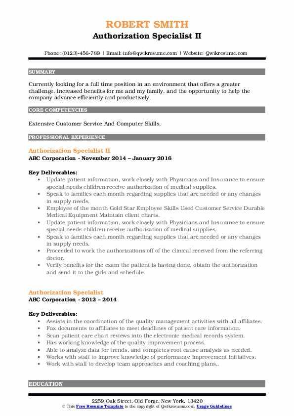 Authorization Specialist II Resume Model