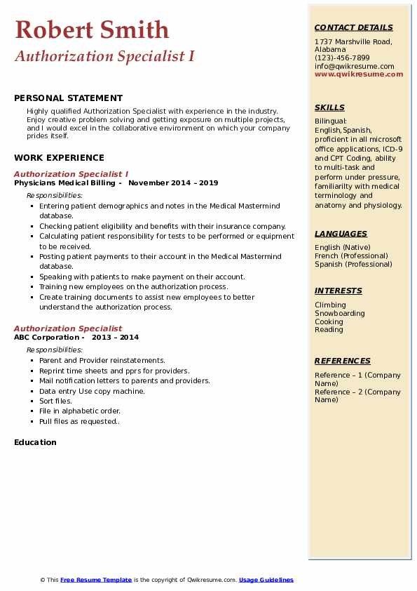 Authorization Specialist I Resume Template