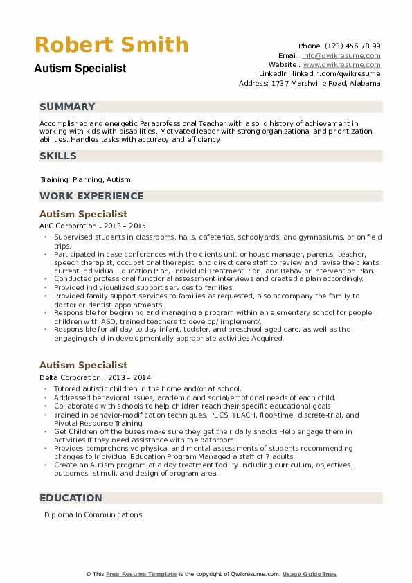 Autism Specialist Resume example