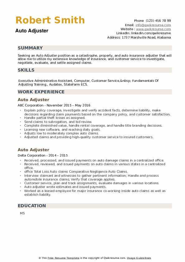Auto Adjuster Resume example