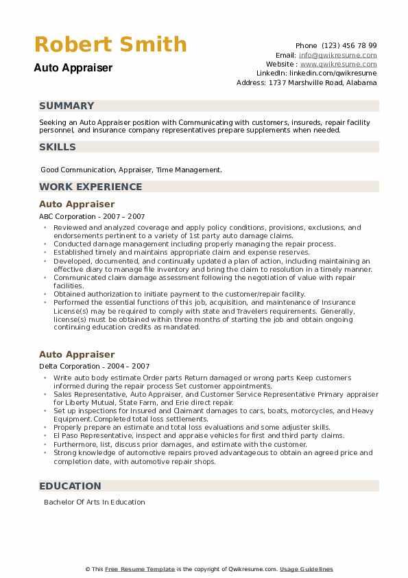Auto Appraiser Resume example
