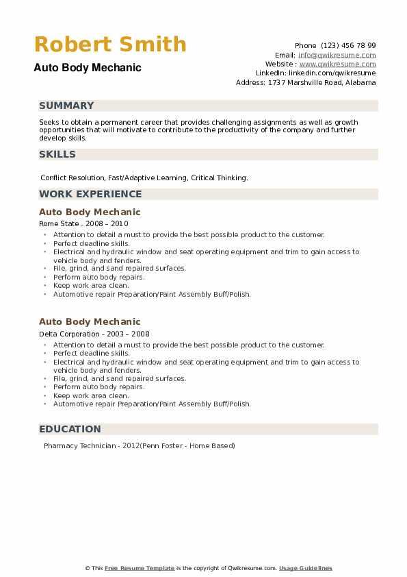 Auto Body Mechanic Resume example