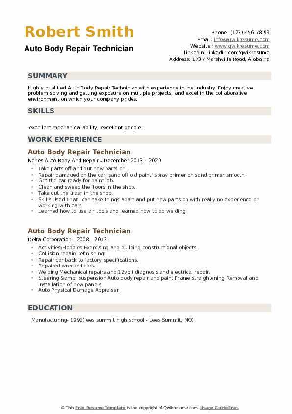 Auto Body Repair Technician Resume example