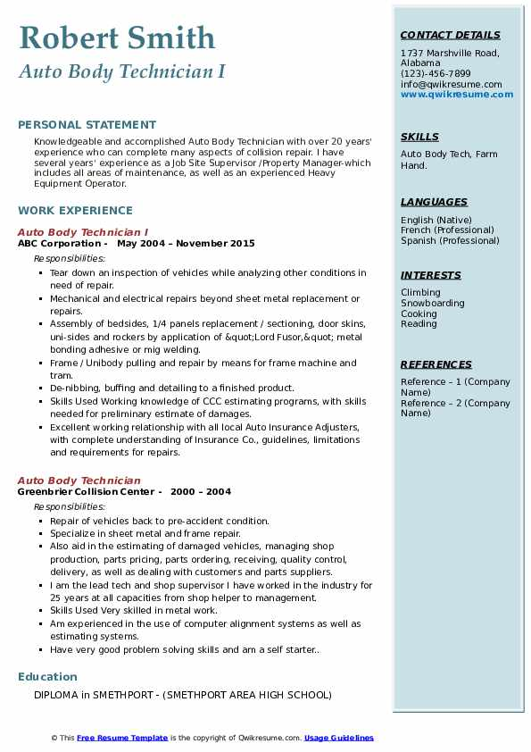 auto body technician resume samples