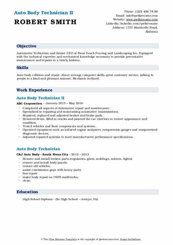 Auto Body Technician Resume Samples | QwikResume