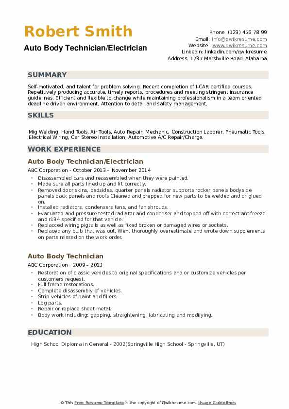 Auto Body Technician Resume Samples Qwikresume