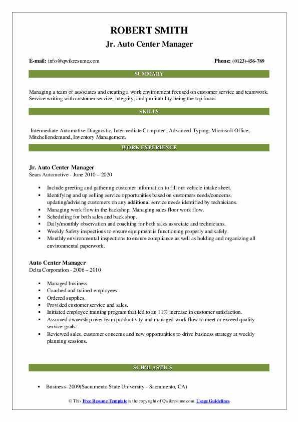 auto center manager resume samples  qwikresume