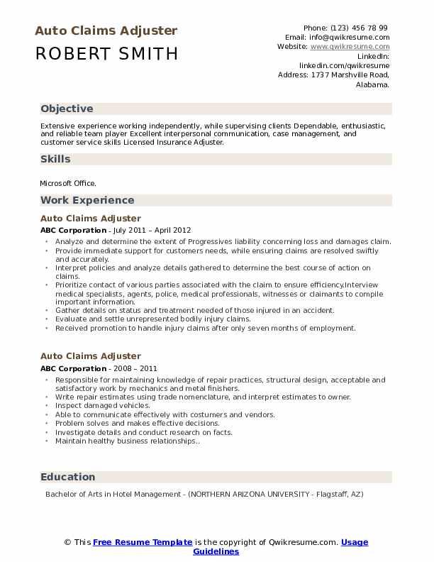Auto Claims Adjuster Resume Samples | QwikResume
