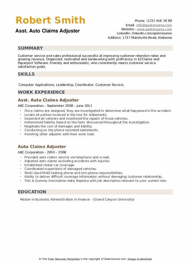 Auto Claims Adjuster Resume Samples | QwikResume