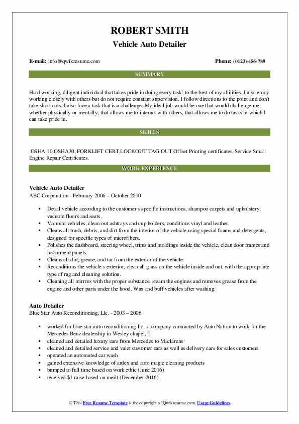 Vehicle Auto Detailer Resume Example