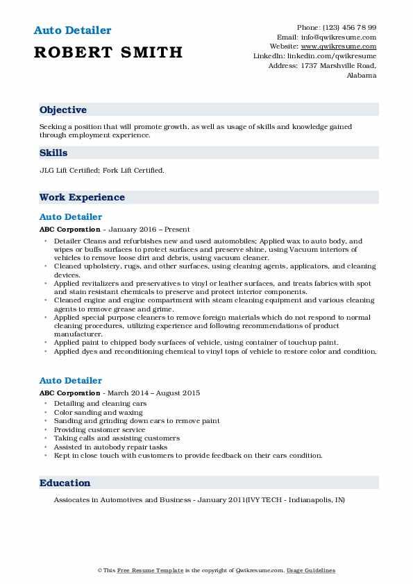 Auto Detailer Resume Example
