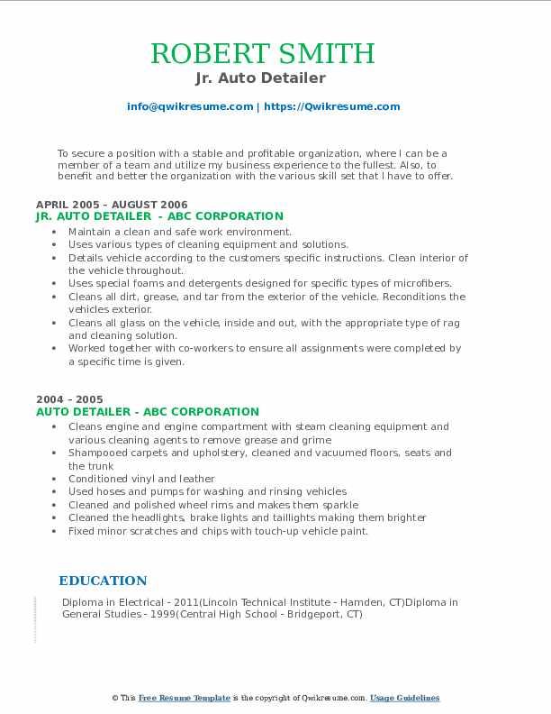 Jr. Auto Detailer  Resume Format
