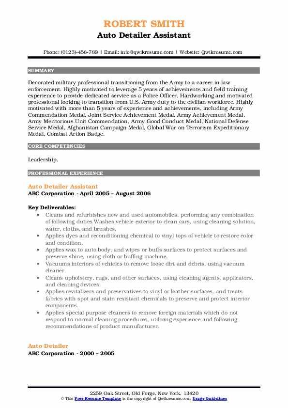 Auto Detailer Assistant Resume Model