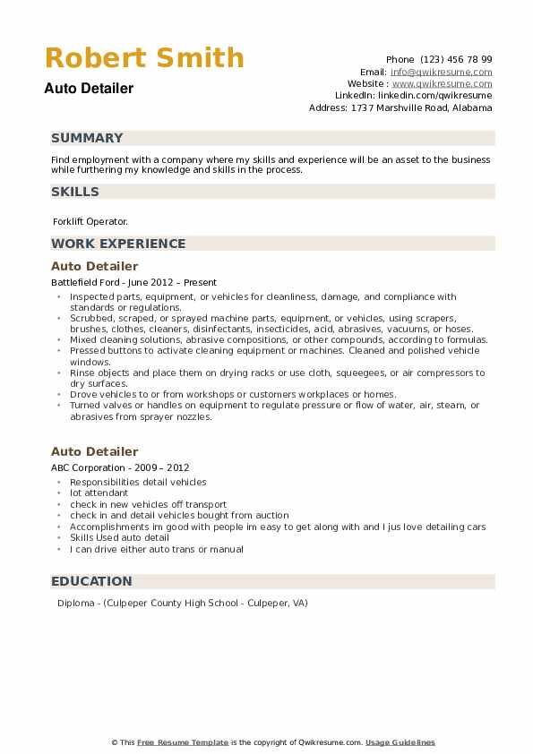 Auto Detailer Resume Samples Qwikresume