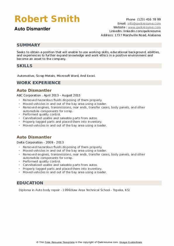 Auto Dismantler Resume example