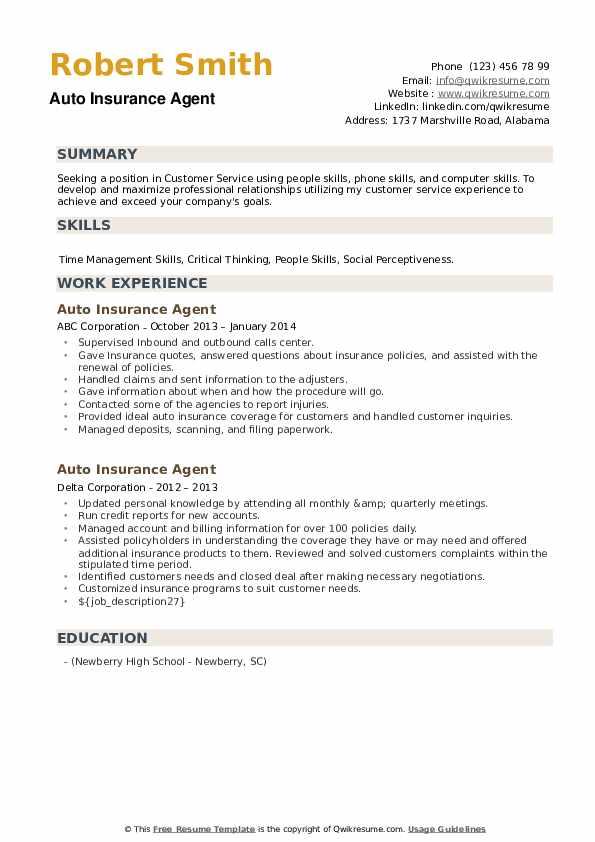 Auto Insurance Agent Resume example