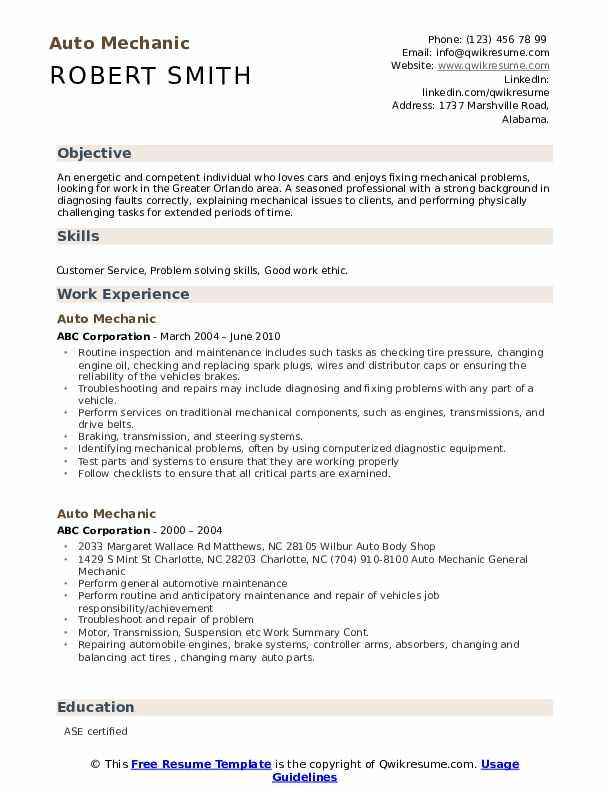 Auto Mechanic Resume Model