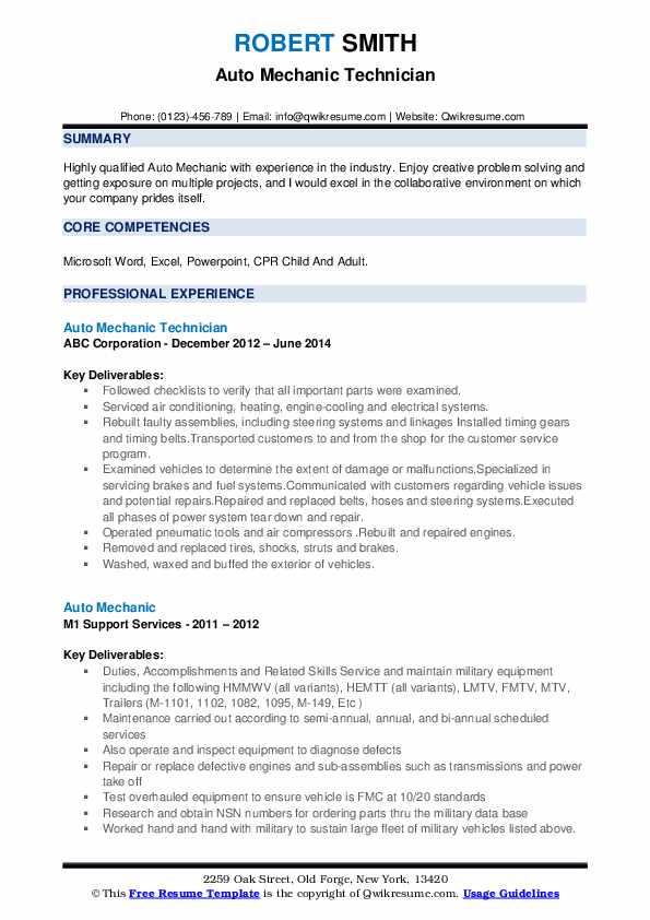 Auto Mechanic Technician Resume Example