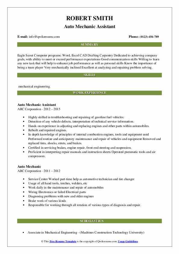Auto Mechanic Assistant Resume Format