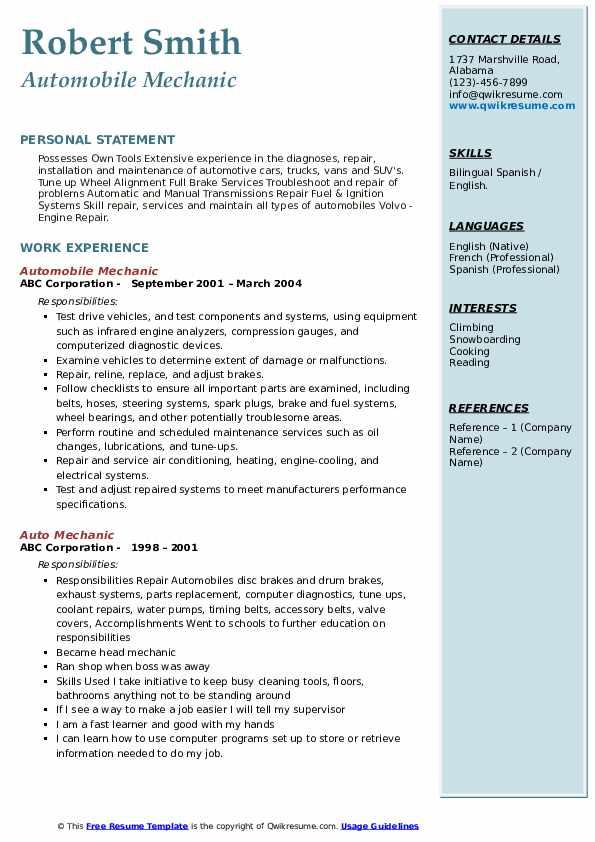 Automobile Mechanic Resume Sample