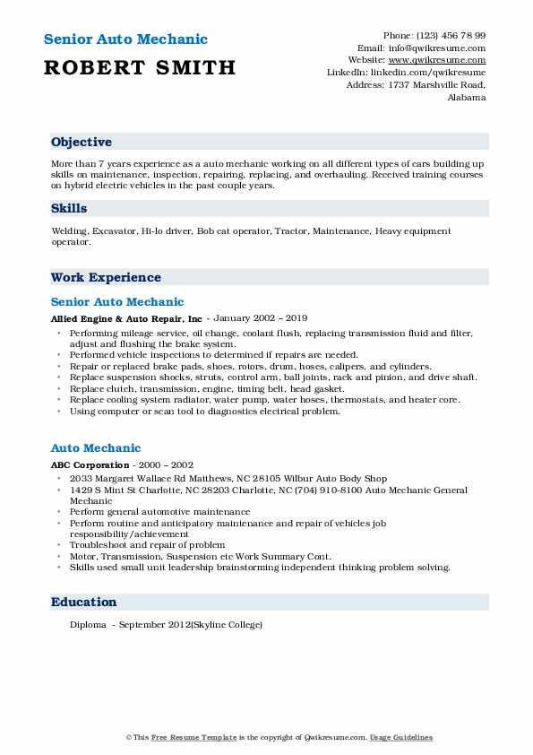 Senior Auto Mechanic Resume Sample