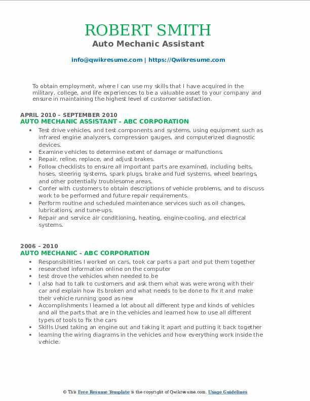 Auto Mechanic Assistant Resume Example